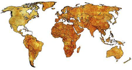 wall maps: Antiguo mapa pol�tico del mundo con banderas de pa�s  Foto de archivo