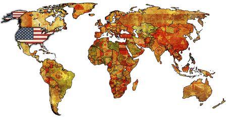united nations: Antiguo mapa pol�tico del mundo con la bandera de Estados Unidos