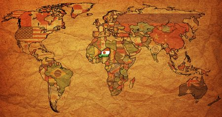 old political map of world with flag of niger photo
