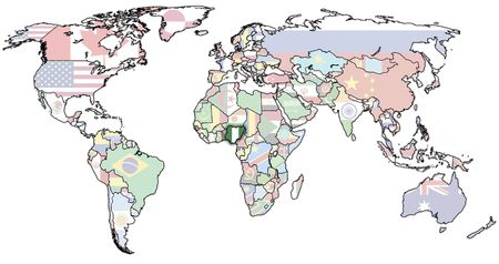 old political map of world with flag of nigeria photo