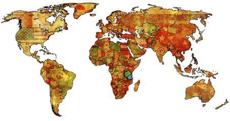 wall maps: Antiguo mapa pol�tico del mundo con la bandera de tanzania  Foto de archivo