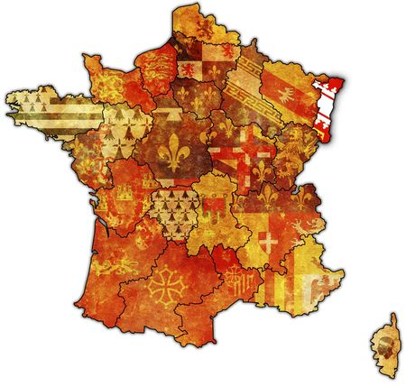 Alsace on old map of france with flags of administrative divisions photo