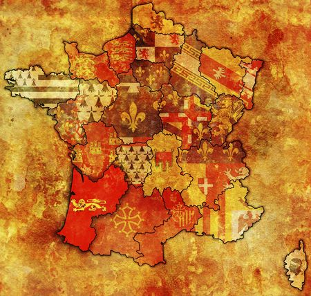 aquitaine on old map of france with flags of administrative divisions photo
