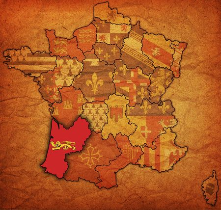 aquitaine: aquitaine on old map of france with flags of administrative divisions Stock Photo