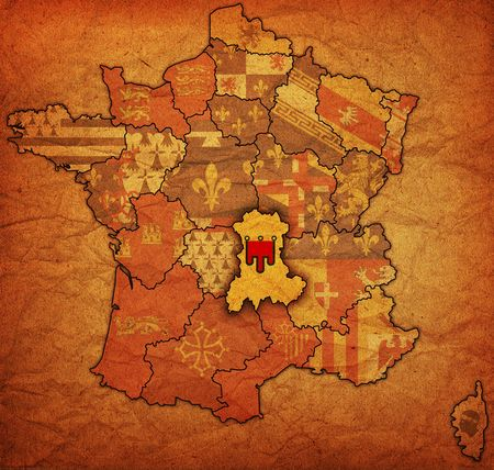 Auvergne on old map of france with flags of administrative divisions photo