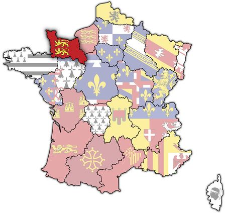 Lower Normandy on old map of france with flags of administrative divisions