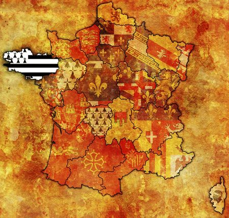 Brittany on old map of france with flags of administrative divisions photo