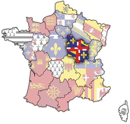 Burgundy on old map of france with flags of administrative divisions photo