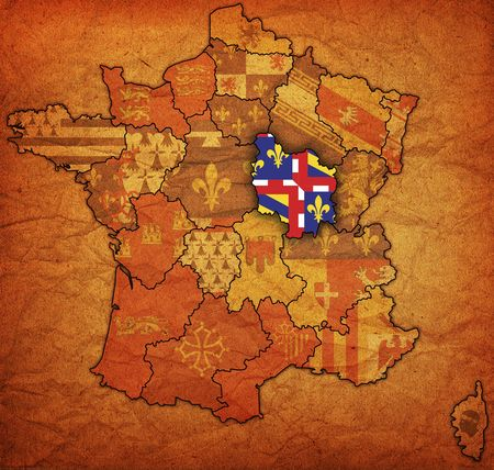 divisions: Burgundy on old map of france with flags of administrative divisions