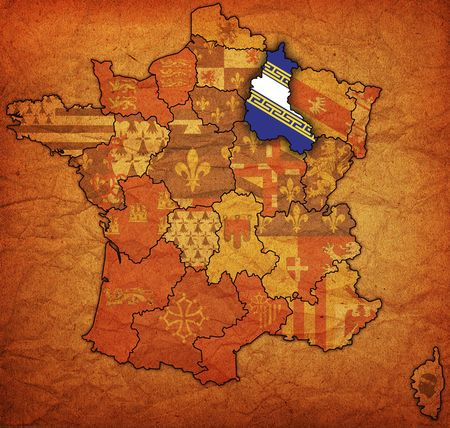 Champagne-Ardenne on old map of france with flags of administrative divisions photo