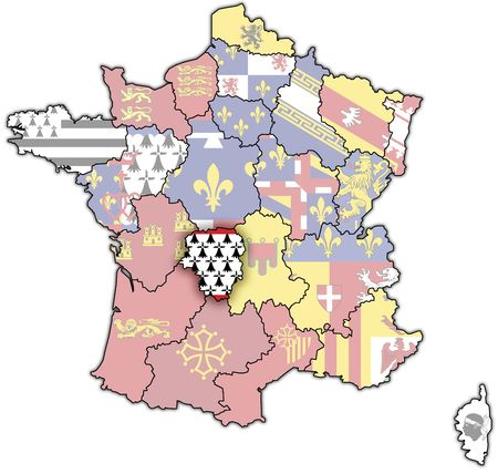 limousin: Limousin on old map of france with flags of administrative divisions