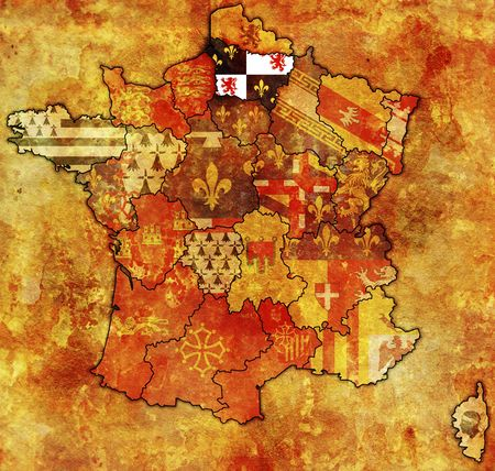 Picardy on old map of france with flags of administrative divisions Stock Photo - 6791768