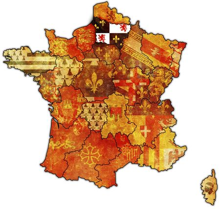 Picardy on old map of france with flags of administrative divisions photo