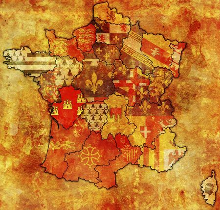 Poitou-Charentes on old map of france with flags of administrative divisions photo