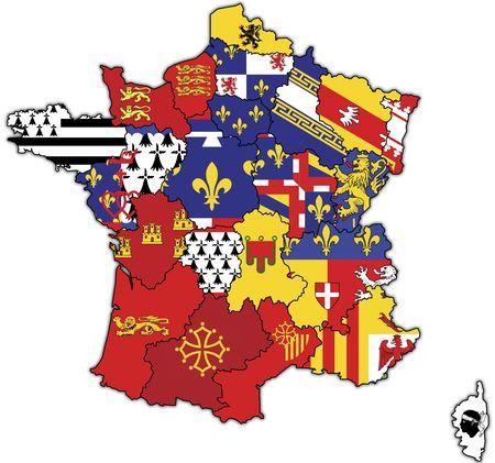 bandera francia: viejo mapa de Francia con banderas de divisiones administrativas