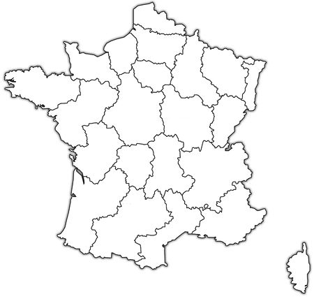map of france with territories of administrative divisions photo