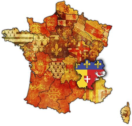 Rhone-Alpes on old map of france with flags of administrative divisions photo