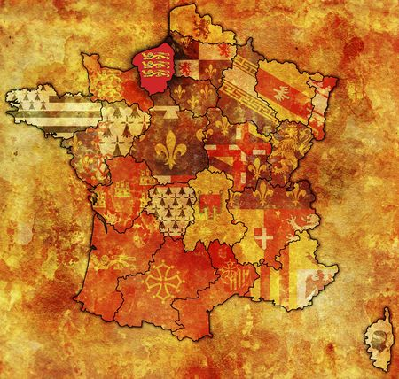 Upper Normandy on old map of france with flags of administrative divisions photo