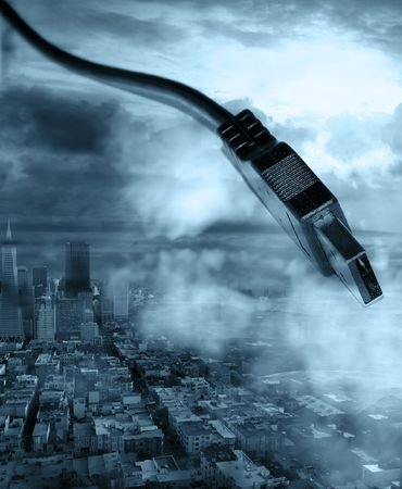 digital graphic of city with cables to connect Stock Photo - 6914073
