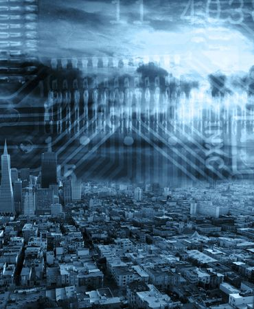 city landscape in blue colors with some technology in back Stock Photo - 6914069