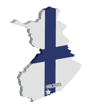 suomi: 3d map of finland with flag and capital marked