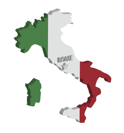 geography: 3d map of italy with flag and capital marked