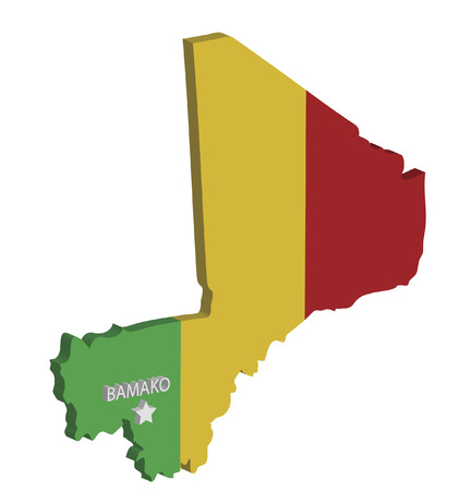 bamako: 3d map of mali with flag and capital marked Illustration