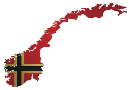 some old vintage map with flag of norway Stock Vector - 6973684