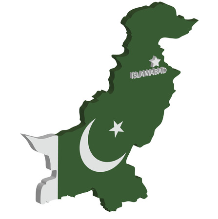 marked: 3d map of pakistan with flag and capital marked