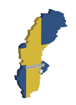 3d map of sweden with flag and capital marked Stock Vector - 6973668