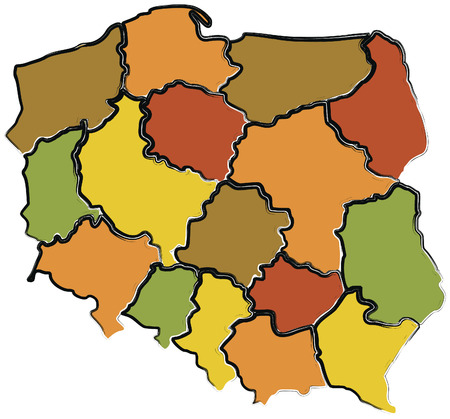 administration map of polish voivodeships in colors Stock Vector - 6973656