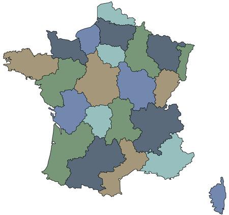 bundesl�nder: Karte von Regionen von kommunalen Frankreich Illustration