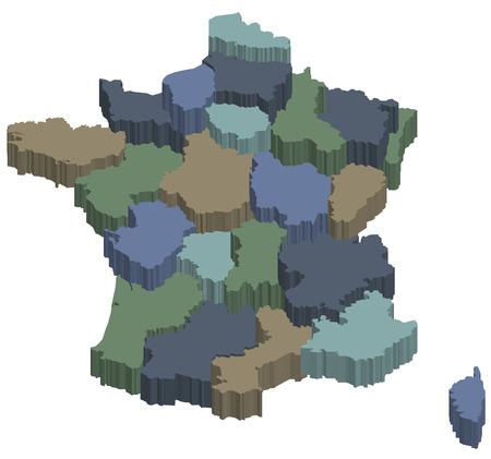 Karte von Regionen von kommunalen Frankreich Standard-Bild - 6973654