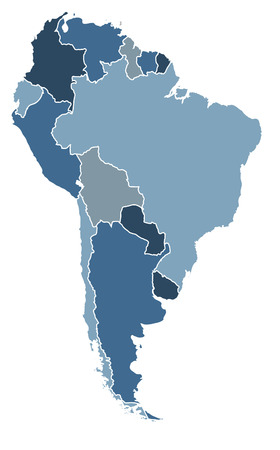 political map of south america in cold blue colors