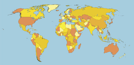 political map of world with country territories in different colors  イラスト・ベクター素材