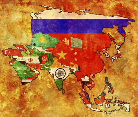 old political map of asia with flags photo