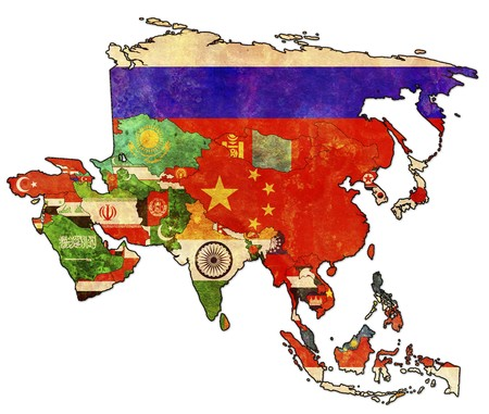 old political map of asia with flags Stock Photo - 6973740