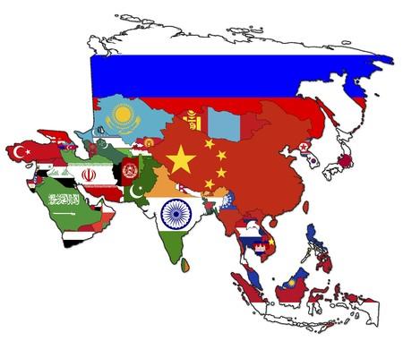 wall maps: Antiguo mapa pol�tico de asia con banderas