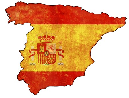 spain: old map of spain with flag on country territory