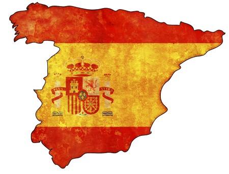 wall maps: viejo mapa de Espa�a con la bandera en el territorio del pa�s