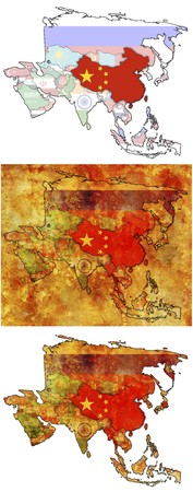 old political map of asia with flag of china photo