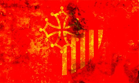 some very old grunge flag of Languedoc_Roussillon photo