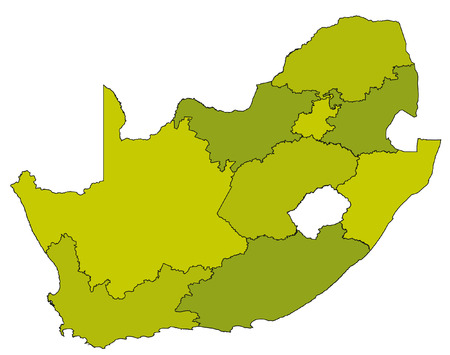 africa outline: map of administrative divisions of republic of south africa in green colors