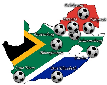 map of rsa with stadiums photo