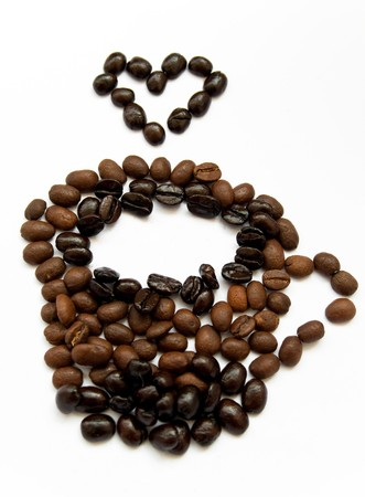 cup of hot coffee made form single coffee beans with heart Stock Photo