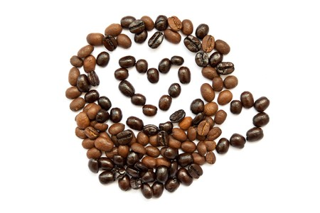 cup of hot coffee made form single coffee beans with heart photo