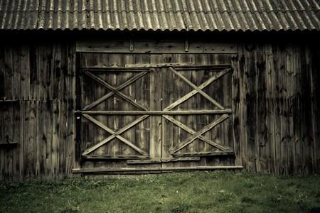 detail of wooden barn door in a village museum