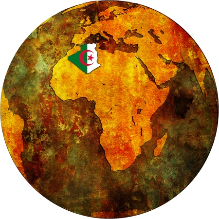 algeria territory with flag on map of globe photo