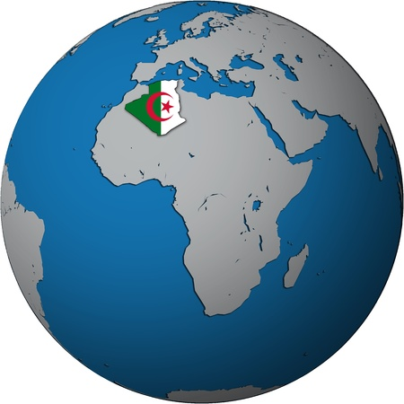 algeria territory with flag on map of globe