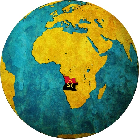 map of angola: Angola territory and flag on map of globe